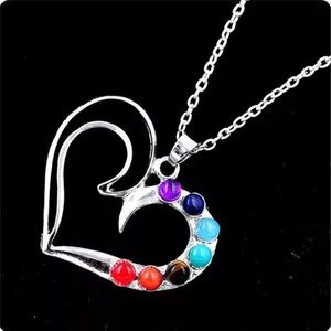 7 BEADS CHAKRA SILVER HEART NECKLACE
